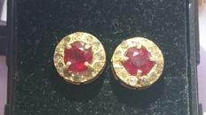 Earrings in 18 kt yellow gold with diamonds for 0.60 ct and a Ruby for 1.85 ct
