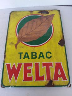 Very old enamel sign tabak welta - 1953.