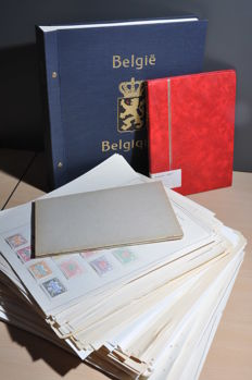 Belgium - Batch from 1849 on, on a stack of album sheets and an album with lots of classic