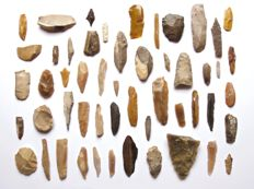 Lot of early Neolithic tools and points 20 - 70 mm (50)