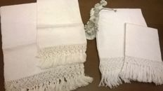 Towels in damask linen, hand-knotted in the early 20th century - San Gallo