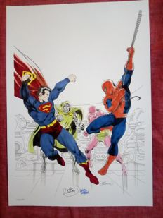 Jean-Yves Mitton - Rare Spider-man / Superman A3 Limited Edition Print with original watercolours - Only 10 Produced - Numbered And Signed