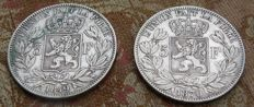 Belgium - 5 Francs 1849 and 1870 Leopold I & Leopold II - 2 coins - silver