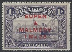 Belgium 1919 - Occupation stamp OBP no. OC61 perforation 15 - 1.25 M on 1 F Violet with EUPEN & MALMEDY overprint