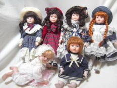 Set of 6 handmade dolls The Promenade Collection - 3 dolls new + 3 in excellent condition