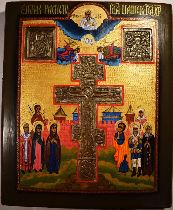 Russian orthodox icon with bronze Crucifixion, hand painted, tempera, wood, bronze casting - XX century