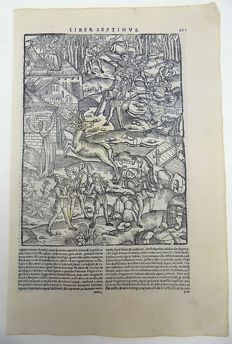 Gruninger Master; Virgil - Giunta Edition - Bestiary, Deer Hunt, Battle Scene, Alecto, Weapons (Bow & Arrow and Pikes) - Illuminated initial - 1515