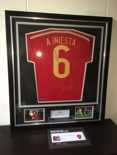Andres Iniesta - Official Signed Spain Word Cup shirt in Deluxe Frame + COA and Photoproof ICONS.