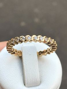 American wedding ring in 18 kt yellow gold with diamonds of 0.8 ct - size 59/18.66 mm