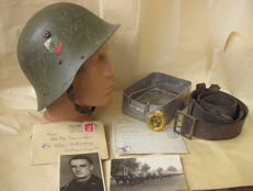 Set original bulgarian helmet M 36 WW2,england pannikin WW2 - 1945 year,original german oficer belt,Original greece badge National Youth Organisation EON - 1936- 1941 year,german military images and leters WW2.