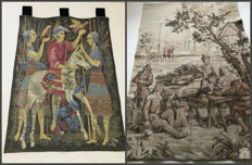 Two old tapestries - presentation of falcons and alcohol company