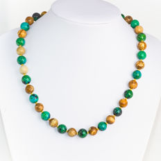 Chrysocolla necklace with Picture Jasper  – Length 49 cm, 14kt/585 yellow gold clasp