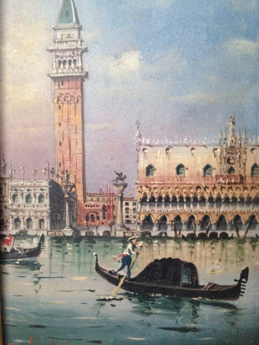 Marco Grubacs (1839-1910)  - View in Venice with gondolier - View of San Marco Square (2X)