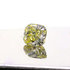 1.86 Ct. Natural Fancy Brownish Greenish Yellow Cushion shape Diamond GIA