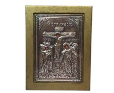 Icon on a panel with silver riza - Greece - 20th century