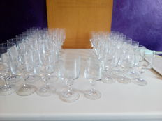 Crystal glasses, 22 for wine, 22 for water, 1950 France