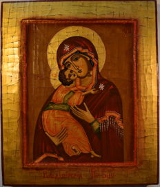 """The russian orthodox icon """"Feodorovskaya of the Mother of God"""", hand painted, tempera, wood."""