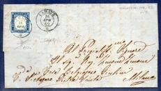 Italy, Kingdom, 1855/1862 -- 20 cent, ultramarine on letter from Usmate to Milan -- Sassone  no. 15Dc