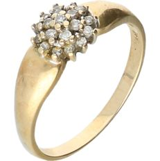 14 kt Yellow gold rosette ring set with 19 round brilliant cut diamonds with a total of approx. 0.19 ct - Ring size: 19 mm