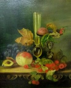Dutch School (19th century) - monogrammed E.S.L. - Fruits still life.