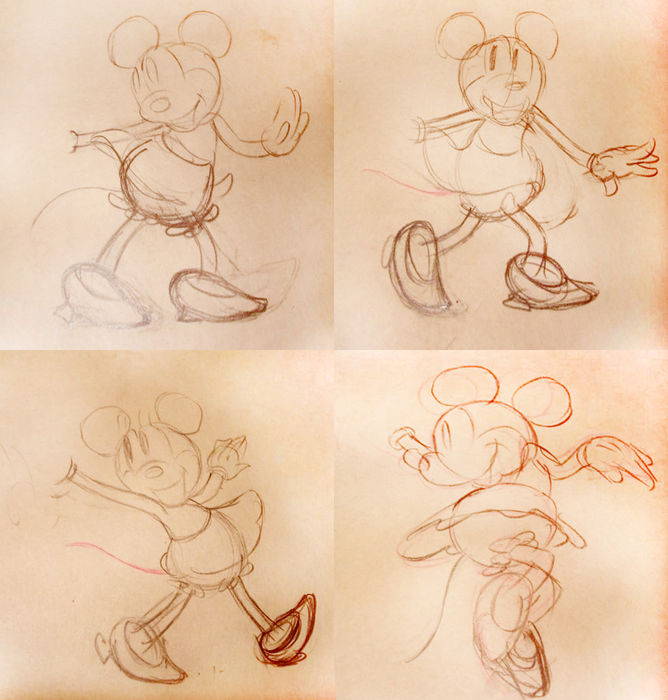 Disney Studios - 4 Original Production Drawings - Minnie Mouse - Mickey's Rival (1936)