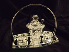Baccarat, crystal cruet set: salt,  pepper and mustard