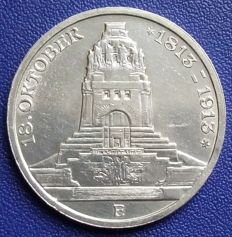 Empire, Saxony – 3 Mark 1913 E – 100th anniversary of the battle of Leipzig – silver