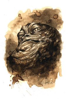 Star Wars : Jabba the Hutt - Original Coffee Drawing By Juapi
