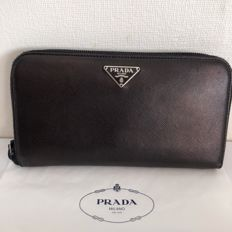 Prada Saffiano - zip around wallet with box