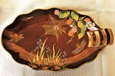 Carlton Ware - Rouge Royale, large beautiful handpainted gilded handpainted lustre dish with insects