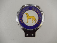 Vintage Unusual The Great Dane Club Dog Badge Renamel Metal Car Badge Auto Emblem