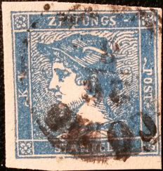 "Lombardy & Venice 1851 - newspaper postage stamp blue Mercury cancelled ""Como"" - Sass. No. 3"