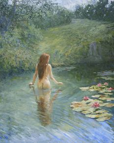 "Chris van Dijk  (1952)  -  ""NUDE SURROUNDED BY WATER LILIES"""