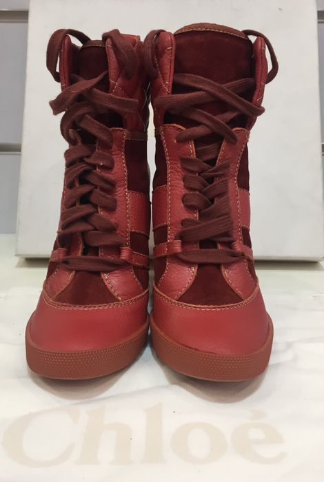 Chloe brand boots made of red leather