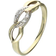 14 kt Yellow gold ring set with 4 octagon cut diamonds of in approx. 0.01 each - ring size: 19 mm