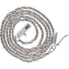 835/1000 Silver rope chain necklace with a box clasp. - length x width: 43 x 0.1 cm