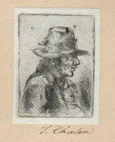 Jan Chalon (1738-1795) - Bust of a man wearing a broad-brimmed hat - Early impression - In the manner of Rembrandt - Ca. 1790