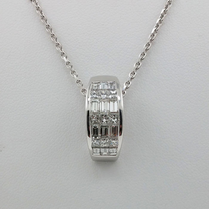 14 kt. White gold - Pendant - 1.50 ct Diamond