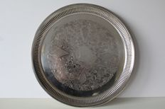 Beautiful large engraved serving tray / serving tray - United Kingdom, early 20th century
