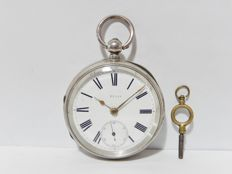 Antique solid sterling silver cased fusee pocket watch Chester 1890