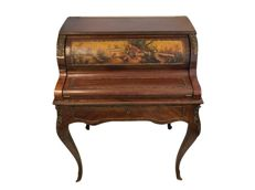 A beautiful cylinder desk with a painted scene, signed A. Rosos - Spain - late 19th century, early 20th century