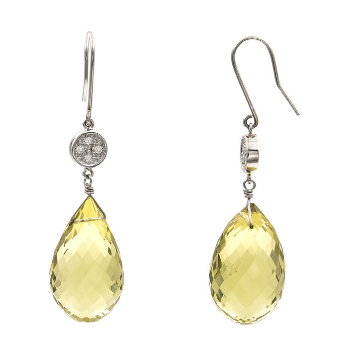 White gold 18 kt/750 - Earrings - Diamonds 0.20 ct - Lemon quartz - Earring height 45.50 mm