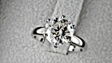 2.17 ct VS2 round solitaire diamond ring 14 kt gold - size 5,75