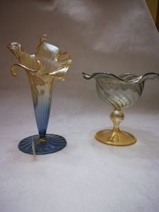 Parise (Murano) Glassblowing makers - Chocolate bowl and Lily shaped vase