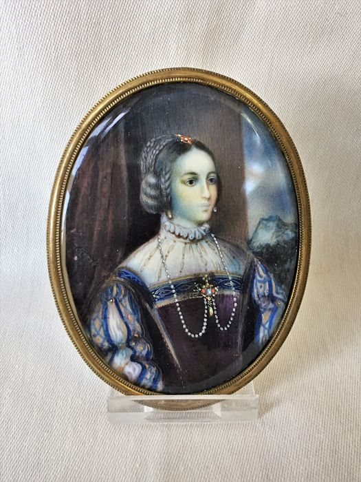 Miniature portrait of Johanna Greve in beautiful colours - Isabel van Portugal, in landscape, Berlin, 1835