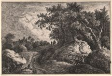 Hans Heinrich Frey (Act. 16502-1680) - Landscape with two figures on a path near the edge of a wood - Ca. 1670