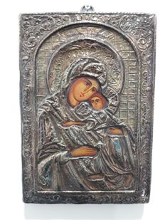 Silver icon Madonna with Child, France, 20th century