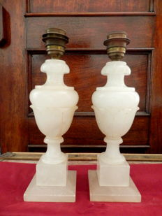 A Pair of Italian White Marble Alabaster Lamps, mid 20th century