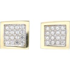 14 kt yellow gold earrings set with a total of 32 zirconias of approx. 0.01 ct each - Size:  1.3 x 1 cm