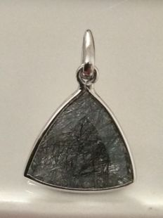 925 Silver Handmade Black Rutil Quartz  Triangular Cushion  Pendant
